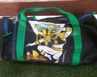 1995 Power Rangers Gym Duffel Carry On Bag featuring the White Ranger