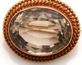 Vintage 14K yellow gold 23.80 CT smokey quartz brooch