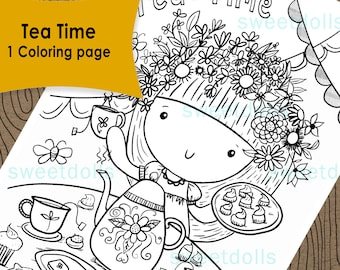 Fun tea party time coloring page, girls coloring page, fun activity