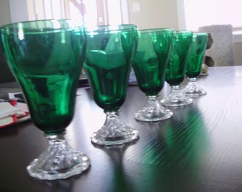 Set of 10 Vintage Dark Green Glasses