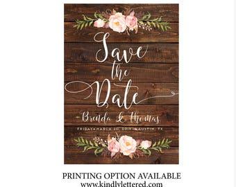 Rustic Save-the-Date-Printable Invitations-5x7 Digital File-Watercolor Rustic Digital File-Announcement Invites-033