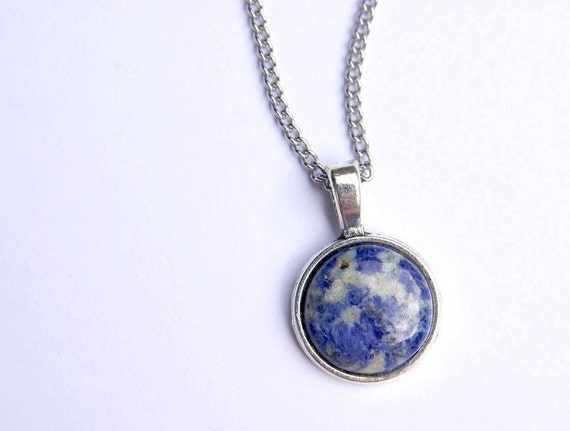 Natural Sodalite Jewelry, Gemstone Necklace, Pendant Cabochon, Healing Crystals, Sodalite gift for her