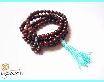 Rose wood stretch Mala 108 turquoise