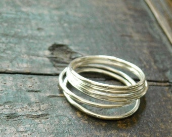Six Everyday Sterling Stacking Rings- Free Shipping