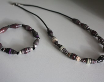 Paper beads set Necklace Bracelet #175