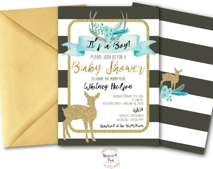 It's a Boy Baby Shower Invitation // Oh Deer // Fawn Invitation // Boy // Blue // Grey // Woodland // Gold Glitter // OXFORD COLLECTION