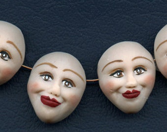 """Face  Beads   Lot   of 4      1  """" x 7/8""""  Polymer Finely  Detailed Side Drilled  TDFB 3"""