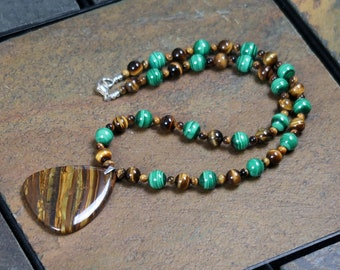 Malachite and Tiger-Eye Necklace