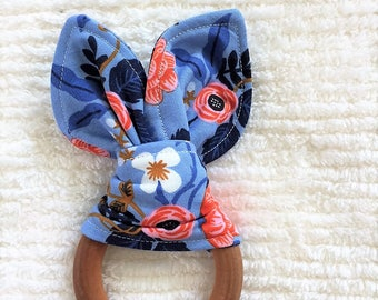 Blue Floral wooden teething ring