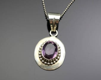 "Vintage Sterling Silver Amethyst Pendant, large 8+ carat, 24"" Sterling Silver necklace chain, estate jewelry, February birthstone"