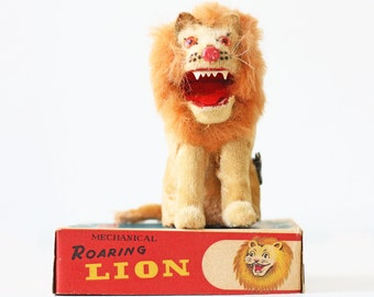 Vintage Toy Lion,  Mohair Wind Up Roaring Lion, with original box