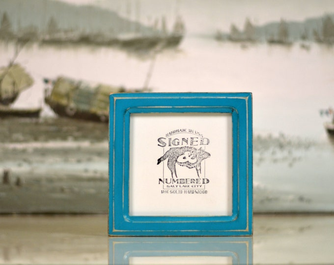 5.5x5.5 Square Picture Frame in Double Cove Style in Finish Color of Your Choice - 5.5 x 5.5 Photo Frame Solid Wood
