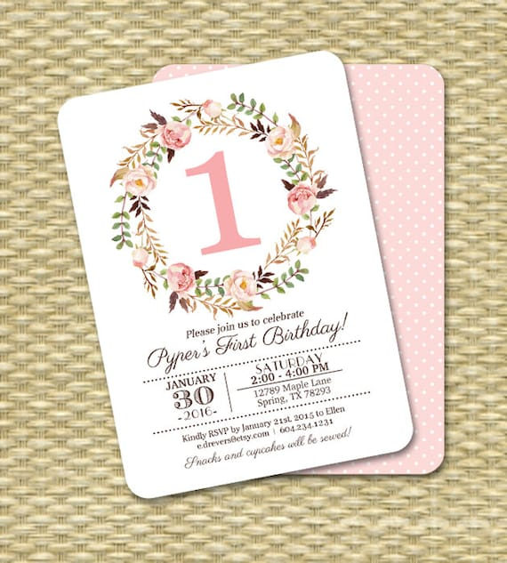 1st birthday invitation girl baby girl pink watercolor floral 1st birthday invitation girl baby girl pink watercolor floral printable invitation kids birthday any age filmwisefo Choice Image
