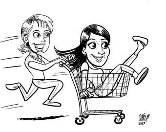 2 person Caricature, black and white (gift, anniversary, wedding, couple, holiday)