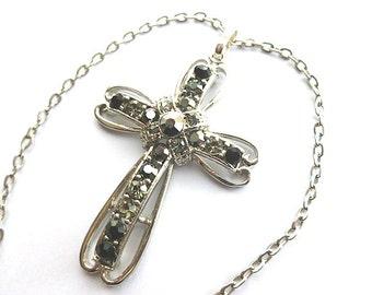 SWAROVSKI CROSS, Crystal Silvertone Cross, Aurora Borealis Cross,  Art Deco Rhinestone Cross & White Gold Plated Neck Chain, Cross Necklace