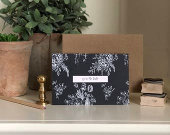 You're the Bestie Midnight Floral Notecard Set | Notecard Set | Note Cards | Notecards