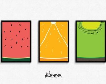 Fruit Kitchen Prints, Kiwi Art, Orange Art, Kitchen Decor, Watermelon Art,  Fruit Kitchen Decor, Fruit Print, Fruit Kitchen Print