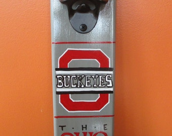 The Ohio State University Buckeyes Wooden Bottle opener with magnetic cap catcher bottle cap catcher opener