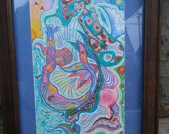 Mermaids Framed Illustration