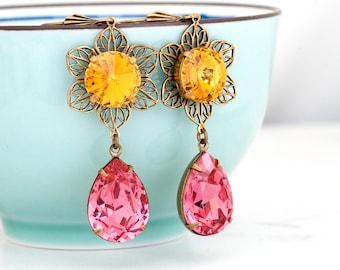Yellow Earrings Yellow Crystal Earrings Pink Rhinestone Earrings Swarovski Crystal Jewelry Crystal Flower Earrings Pink Earrings Dangle Eriu