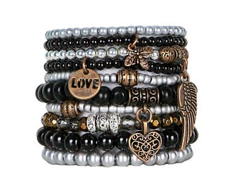 Beaded Bracelets Set of 10 Stretch Bracelets Bohemian Love Themed Stack with Copper Tone Charms