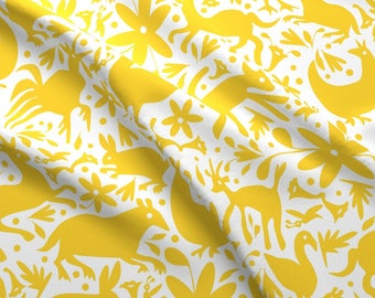 Yellow Festive Otomi Fabric - Mexico Springtime Yellow On White (Large Scale) By Sammyk - Deer Cotton Fabric By The Yard With Spoonflower