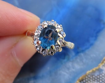 Vintage 9ct Gold Topaz and Diamond Ring, Size L, Statement Ring, Vintage, Topaz, Engagement Ring, Diamond, Gold, Jewellery
