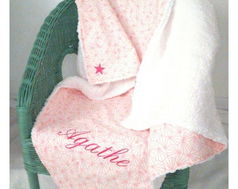 Blanket personalized (name and fabric) 80 x 80 cm - birthday gift - baby gift