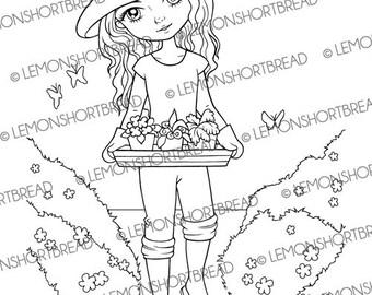 Digital Stamp Gardening Girl, Digi Download Coloring Page, Summer Garden, Floral Flowers, Clip Art, Graphic, Scrapbooking Supplies