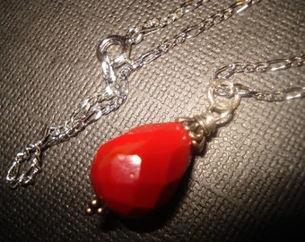 Simply Red Teardrop Necklace
