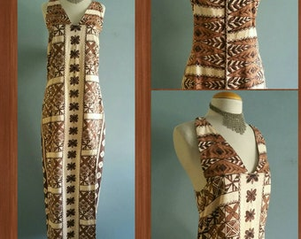 Vintage Hawaiian tapa print maxi dress.
