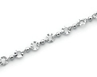 """Sterling Silver 7"""" Beads and Circles Bracelet."""