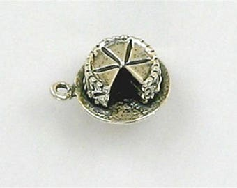 Sterling Silver 3-D Cake with Slice Missing Charm
