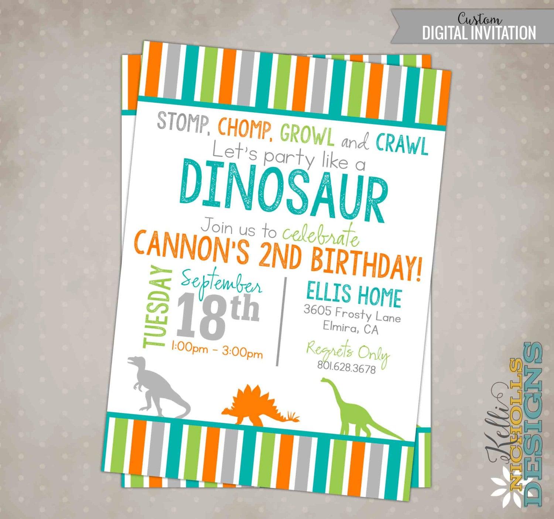Boys Dinosaur Birthday Party Invitation Printable Custom Dino