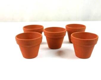 5 Mini Terracotta Pots Mini Planting Pots Fairy Garden Pots Terracotta Vases Mini Garden Pots Terrarium Pots
