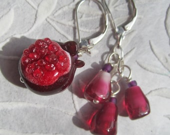 Pomegranate - Winter's Fruit earrings of handmade lampwork glass beads, sterling,sacred adornment, menstruation, menarche, rite of passage