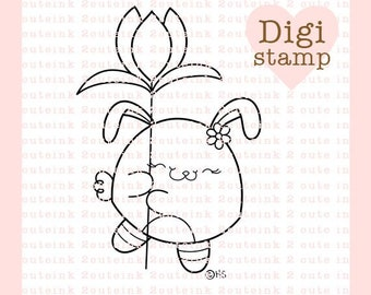 Tulip Bunny Digital Stamp - Spring Digital Stamp - Easter Stamp - Bunny Art - Spring and Easter Craft Supply