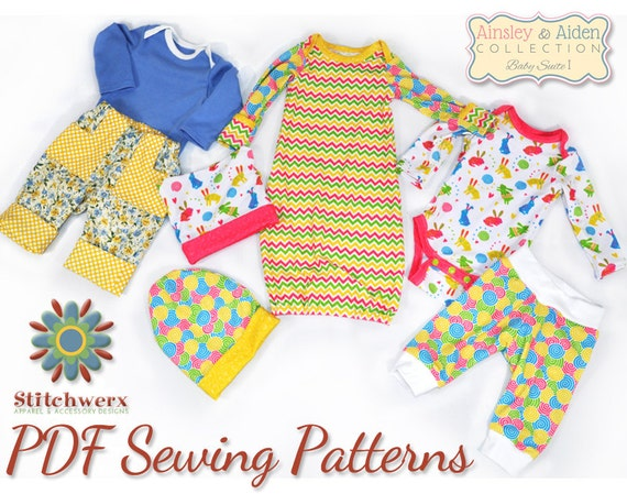 Pattern Bundle Baby Suite I Set of 4 Baby Clothes Sewing