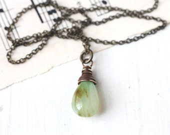 Mint Green Opal Wire Wrapped in Antique Brass, Simple Gemstone Necklace for Bridesmaids, October Birthstone