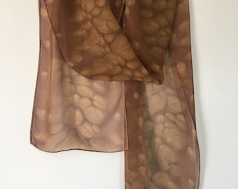 Brown Handpainted Silk Scarf:OOAK/Hand Painted Silk/Abstract Scarf/Hand Painted Scarf/Abstract Art/Womens Gift/Gift for Her/Mothers Day Gift