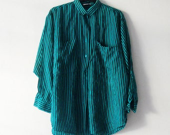 vintage Pure Silk Striped teal green oversize shirt