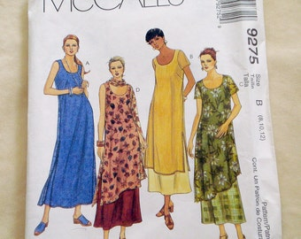 Misses and Ladies' Dress Pattern McCalls  No. 9275 Sizes 8, 10, 12 Long, slimming dress pattern