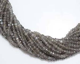 "Grey moonstone faceted rondelle beads 3-4mm, moonstone beads, gray moonstone stone 13""inch strand"