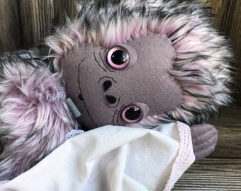 Snow Monkey jointed artist plush chimpanzee frosted lavender fur 15 inches by Karen Knapp of Tindle Bears