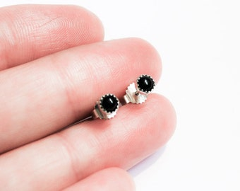 Handmade black Onyx stud earrings, sterling silver, 4mm Onyx cabochon, black studs, serrated bezel, post earrings