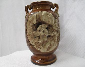 Made in Japan vase, vintage brown vase, vtg souvenir vase, Oriental retro vase, collectible decor, vtg home decor, old glazed vase