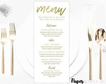 Gold Wedding Menu Template, Gold Wedding Menu, Gold Wedding, Printable & Editable Calligraphy Wedding Menu,  PDF Instant Download