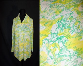 Carriage Ride Novelty Print Vintage 1970's Women's DISCO Polyester Shirt M L