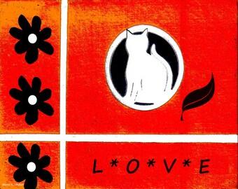 Cat Folk Art, Digital Typography Artwork, Feline Home Decor, Red Black White, Americana Wall Hanging, Flowers and Kitten Giclee Print,8 x 10