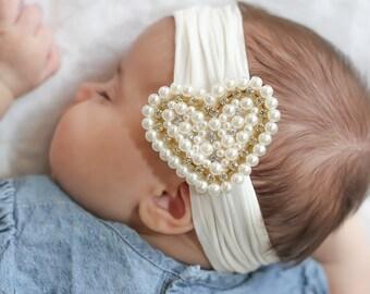 Baby Headband, Ivory Pearl Heart Headband, Baby Pearl Headband, Baby Head wrap, Flower Girl Headband, Baby Cream Head band, 1436